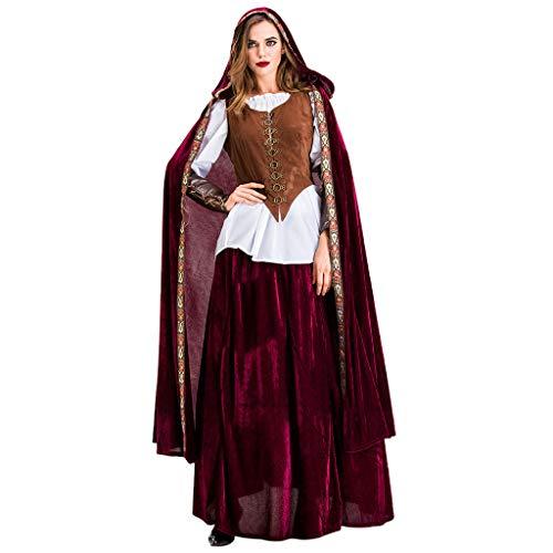 ZZBO Damen Rotkäppchen Kostüm Märchen Kleid Halloween Karneval Elegant Frauen Halloween Cosplay Vintage Hexe Mittelalter Gericht Kleid Festliches Umhang Weste Oberteile Kostüm Set S-XL