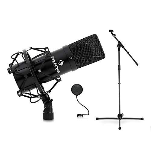 Auna MIC-900B Konzert- Bühnen-& Studio-Mikrofonset Kondensator USB Mikrofon mit Stativ und Mikrofonabschirmung (Mikrofonständer höhenverstellbar, Nierencharakteristik, Galgen verstellbar, inkl. Mikrof