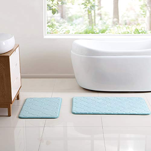 VCNY Home Kaydence Collection Bath Mat Set - Soft Supportive Rug with Nonskid Back - Designed for Bathroom, Hallway, or Kitchen Use, 2 Piece, Aqua