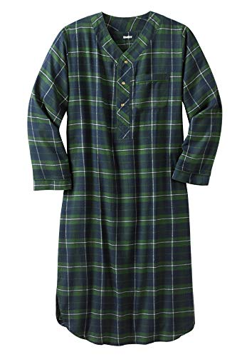 KingSize Men's Big & Tall Plaid Flannel Nightshirt - Big - 3XL/4X, Balsam Plaid Pajamas