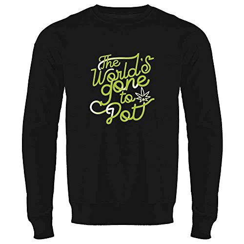 Pop Threads The Worlds Gone to Pot Funny Text 420 Pun Black L Crewneck Sweatshirt for Men