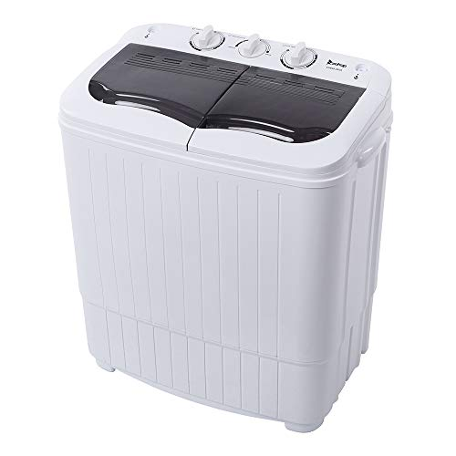 Portable Washing Machine Mini Washer and Dryer Combo for Apartments, RV, Camper, Dorms, College Rooms, Twin Tub CompactWasher Machine Lavadora y Secadora Portatil 14.3 Lbs (7.7, 6.6) (Grey+White)