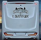 klebenswichtig Ces't l'heure de L'aventure XL 80 cm Montagne Camping VacanzesAutocollant de caravane de voiture Tuning Stickers pour Camping-car, caravane et Fourgon