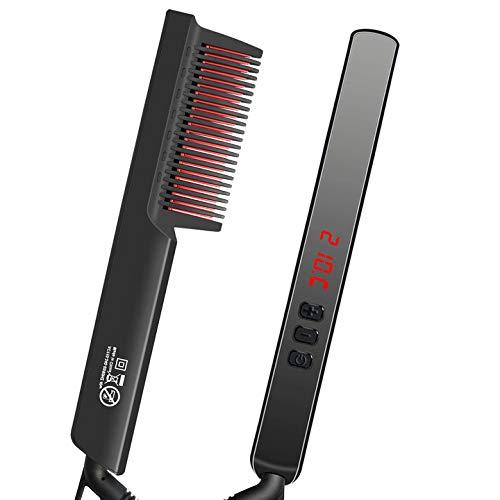 Brosse Lissante Chauffante Brosse Lissante cheveux Lisseur Barbe, chauffage rapide céramique PTC-arrêt automatique, 6...