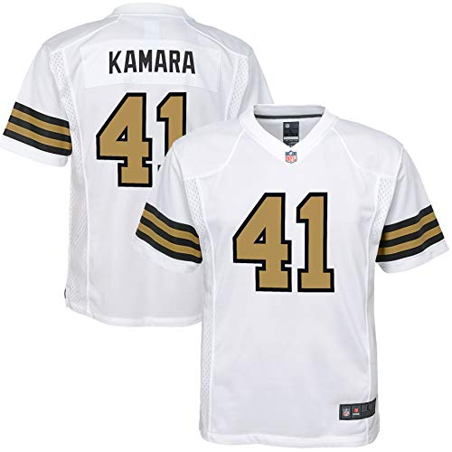 NFL Youth 8-20 Color Rush Alternate Color Game Day Player Jersey (Alvin Kamara New Orleans Saints White Color Rush, 14-16)