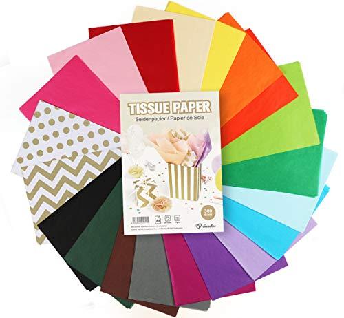 Sweelov - Carta velina 300 fogli A4 colorati, 20 colori, carta trasparente per confezionare pompon, decorazione da tavolo, fai da te, 16 g/m²
