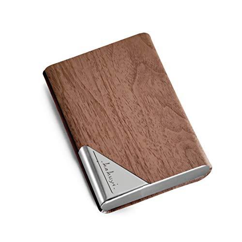 KAKUYI 名刺入れ 名刺ケース 高級感 ステンレス鋼カードケースPUレザー 携帯用名刺入れ 大容量 男女兼用 (木目柄カラー)