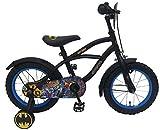 .Batman Bicicleta Infantil Niño Chico 14 Pulgadas Freno Delantero al Manillar y Trasero Contropedal Ruedas Extraibles 95% Montada Negro