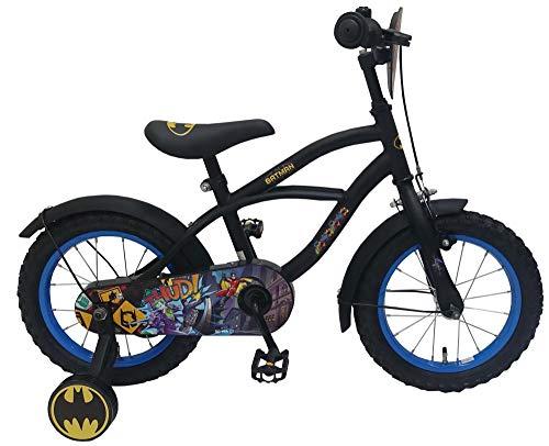 .Batman Kinderfahrrad Jungen 14 Zoll mit Vorradbremse am Lenker und Rücktrittbremse, Stützräder Schwarz 95% Zusammengebaut