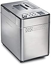 Hamilton Beach Premium Dough & Bread Maker Machine with Auto Fruit and Nut Dispenser, 2 lb. Loaf Capacity, Stainless Steel (29888)