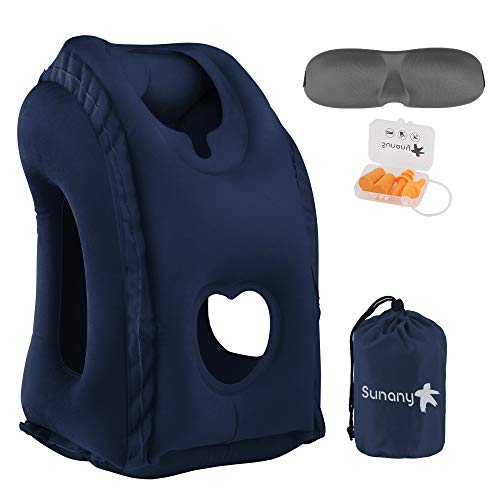 Sunany Inflatable Neck Pillow Used for Airplanes/Cars/Buses/Trains/Office Napping with Free Eye Mask/Earplugs (Blue)