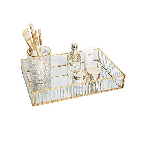 HARLIANGXY Bandeja de maquillaje dorada – Bandeja de cristal – Bandeja de espejo vintage – Bandeja pequeña de metal –Caja de almacenamiento de tocador – Organizador de joyas/maquillaje – 25x18x4,5cm