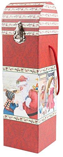 Idena 8551027 Flaschenbox, Santa mit Metallbeschlag, 9,5 x 9,5 x 33 cm, sortiert