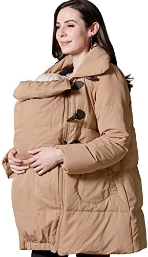 Sweet Mommy Maternity and Babywearing Down Duffle Coat with Babywearing Pouch Camel product image