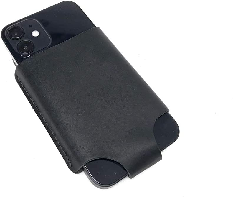 iPhone 6, 7, and 12 Mini Belt Holster & Case - Black Leather