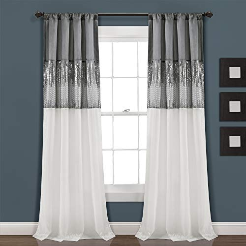 """Lush Decor Gray and White Night Sky Panel for Living, Bedroom, Dining Room (Single Curtain), 84"""" x 42"""""""