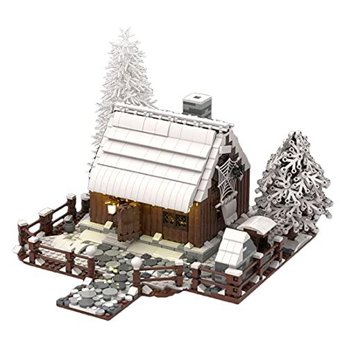 LEED Baustein modello 1781+ - Casetta in legno invernale con mattoncini a morsetto, giocattolo da costruzione, modello
