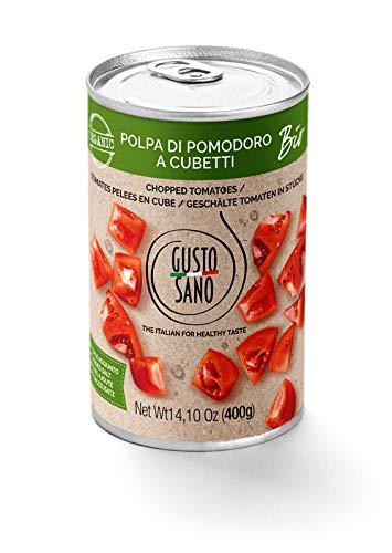 GUSTO SANO PULPA TOMATE, Salsa tomate en cubitos, tomate Bio. Latas de conservas de tomato sauce 6 pack de 400 Gr: 2,4 Kg. No OGM, tomate ecologico 100{4ac4205ebca8c8e8638f48fa3dd4e378780880daa866b03a4dbbbc550649ff37} Made in Italy