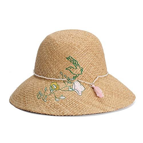 Juan Ni Lafite strohoed dames Koreaanse borduurwerk bloem parel kwast decoratieve koepel wastafel hoed zonneklep hoed Tarwe-gekleurde