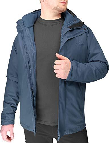 normani 3 in 1 Allwetter Parka Hardshelljacke + Fleecejacke - Atmungsaktiv - Wasserdicht - Winddicht Farbe Blau/Schwarz Größe XXXL