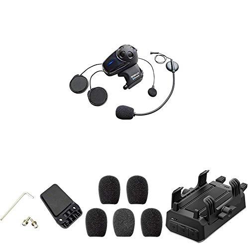 Sena Auricular/Intercomunicador Bluetooth + Kit de Sujeción al Casco + Espumas de Protección para Micrófono + Sena Powerpro-01 Soporte para Manillar