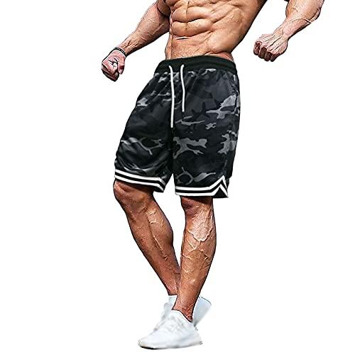 FASHIONN Pantalones Cortos De Baloncesto para Hombre, Deportes Casuales, Entrenamiento De Gimnasio De Secado Rápido, Camuflaje, Bolsillo para Cinturón Camouflage green-3XL