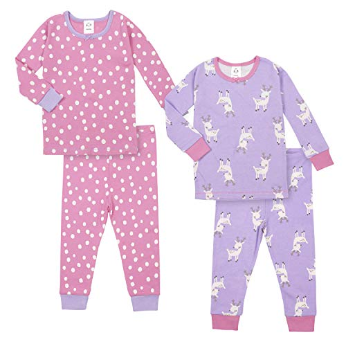 GERBER Baby Girls Organic 2 Pack 2-Piece Cotton Pjs, Reindeer, 18 Months