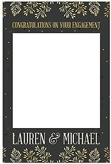 Gold and Grey Leafy Engagement Selfie Frame Prop Poster