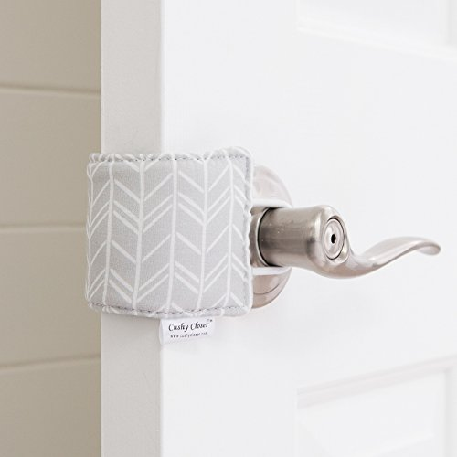 The Original Cushy Closer Door Cushion | No More Noisy Doors! | Door Latch Cover- Baby Safety for Quiet Doors (Birch - Gray)