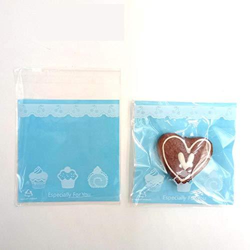 10 stuks 10 x 10 cm koekzakjes snoepjes met sticker OPP kunststof geschenktasje party thuis bruiloft levensmiddelverpakkingen Cartoon kinderverjaardag blauw