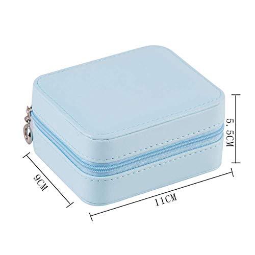 Schmuck Aufbewahrungsbox Lagerung Mini-Rolle für Ringe Ohrringe Organizer Travel Schmuck Organizer-Tasche Rosa 11cm,Blau