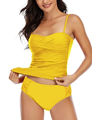 GRND Women Bandeau Tankini Swimsuit Front Twist Bikini Top Swimwear Ruched High Waisted Bottom Tummy Control Bathing Suits (Sunny Yellow, M)
