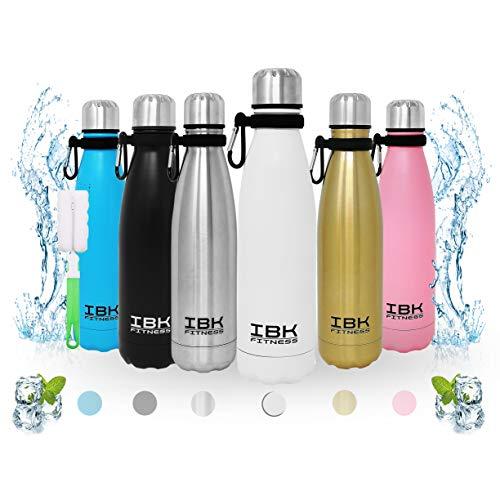 IBK Fitness – Botella de agua de 500 ml, de acero inoxidable, sin BPA, con gancho y accesorio limpiador (blanco)