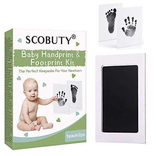 Baby Handabdruck und Fußabdruck Set, Handabdruck Baby Set, Abdruck Baby Set, Baby Handprint, Babyhaut kommt nicht mit Farbe in Berührung und für Neugeborene 0-6 Monate, 2pc