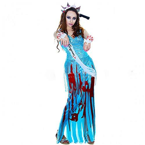 Halloween Kostüm Anzug weibliche Ghost Party Kleidung blau langes Kleid Pailletten Kostüm Horror Teufel Spielanzug
