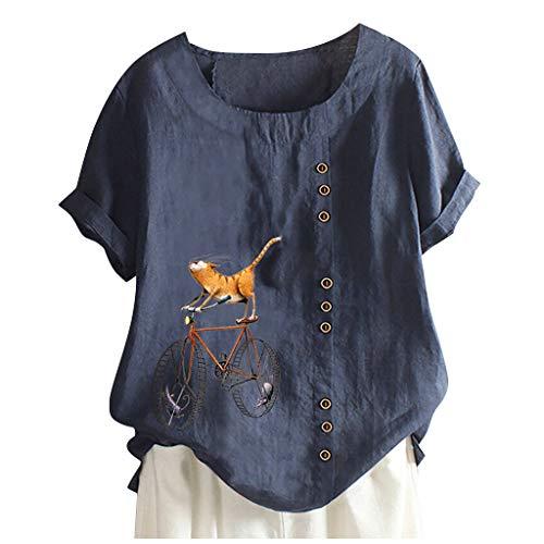 Damen Sommer Elegante Leinen Einfarbig Kurzarm T-Shirt Cartoon Katze Und Fahrrad...