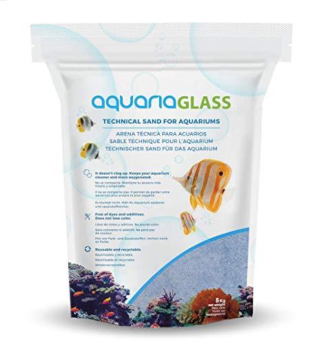 AquariaGlass Pacific Arena Técnica Fina para Acuarios y Peceras, Evita la Compactación y Aumenta la Higiene, Limpieza y Durabilidad del Agua de Acuario Color Azul - Saco de 5kg