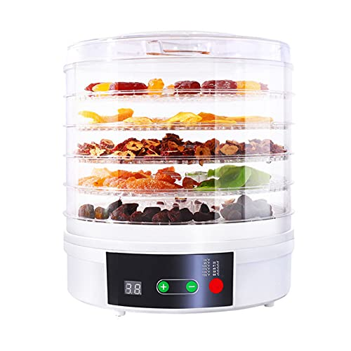 Deshidratador de alimentos, secador de alimentos cronometrados inteligente, disco de red de cinco capas, circulación de aire caliente de temperatura constante, adecuado para carne, frutas, verduras