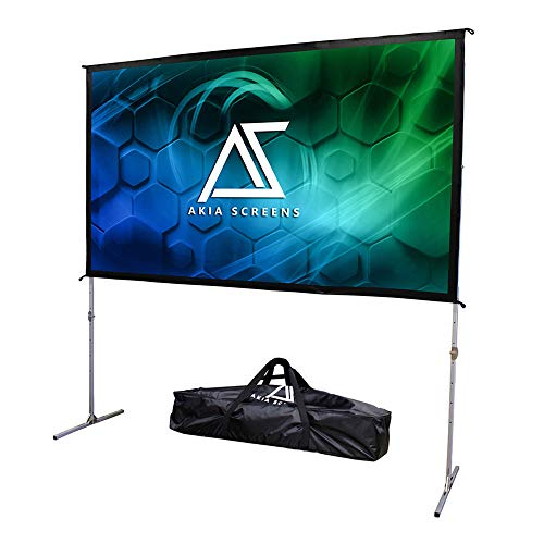 Akia Screens 120 inch Indoor Outdoor Portable Projector Screen with Stand and Bag 16:9 8K 4K Ultra HD 3D Adjustable Height Foldable Projection Screen Silver for Movie Video Home Theater AK-OS120H1