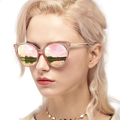 Myiaur Fashion Cat Eye Mirror Gafas de sol Mujer Protección UV polarizada Diseño elegante (Marco rosa/lente de espejo rosa)