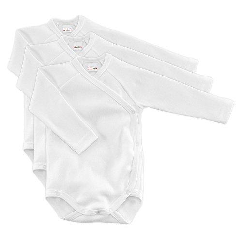 MAKIAN Baby Wickelbody Langarm Weiß - 3er Pack - 100% Baumwolle/Öko-Tex Standard 100 / Unisex (50/56)