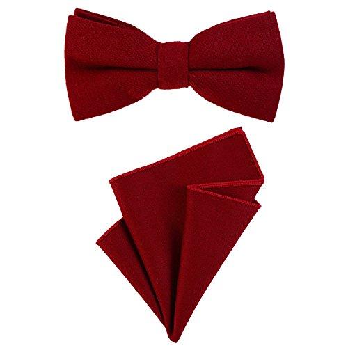 DonDon Herren Fliege 12 x 6 cm gebunden längenverstellbar und Einstecktuch 23 x 23 cm farblich passend aus Baumwolle dunkelrot
