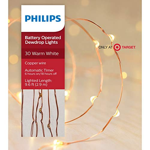 Philips 30 ct Dewdrop Battery-Operated Fairy String Lights- Warm White with Copper Wire