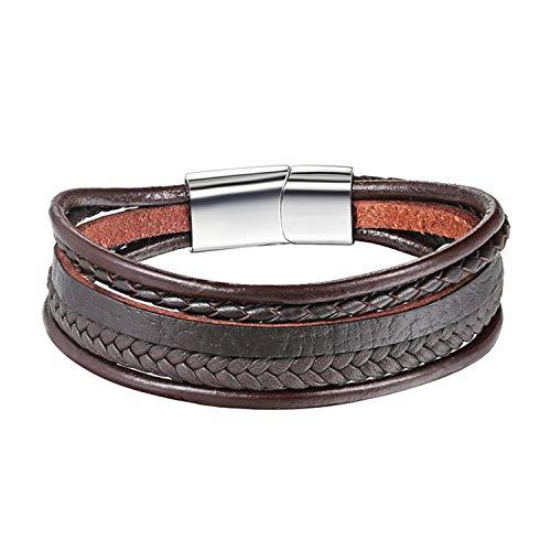 Armband Armreif,Schmuck Geschenk, Multilayer Real Leather Bracelet Men Stainless Steel Magnet Buckle Men Gift Friendship Bracelet Pulseras 19 Choice as picture3 19cm
