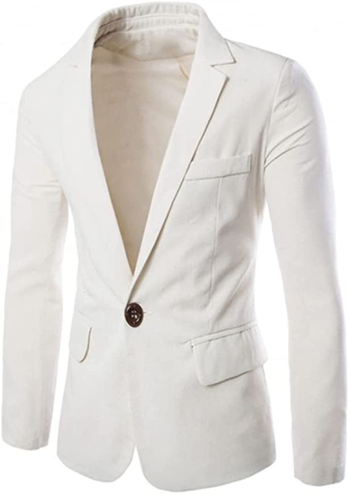 White Casual Men's Coat Suit Version Single-Row one Button Notch Lapel Blazer for Business Party Meeting