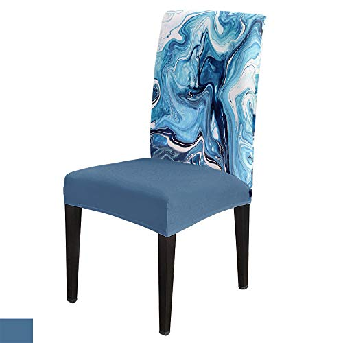 Stretch Chair Cover Dining Room Chair Covers Set of 6 Blue, Abstract Crack Marble Pattern Removable Kitchen Chair Covers Soft Chair Seat Washable Furniture Protector with Elastic Bottom for Office