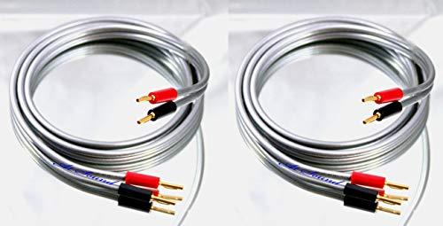 QED Reference XT40i Lautsprecherkabel, 2 Kabel, vergoldet, 4 mm Bananenstecker an allen Enden, insgesamt 8 Stecker 3.5 Metre
