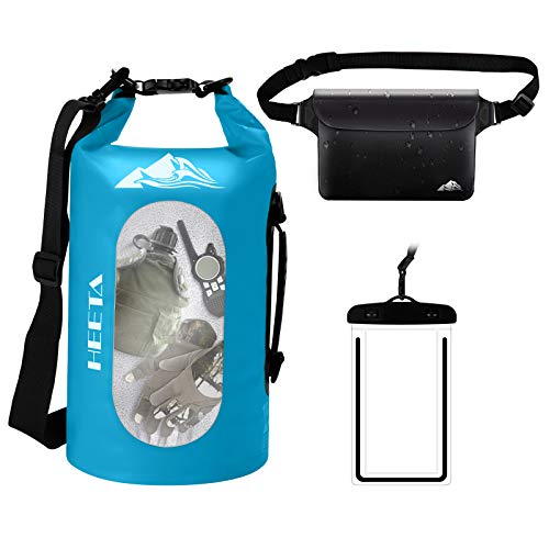 HEETA Waterproof Dry Bag for Women Men 5L/ 10L/ 20L/ 30L Roll Top Lightweight Dry Storage Bag Backpack with Phone Case for Travel Swimming Boating Kayaking Camping and Beach Blue 5L