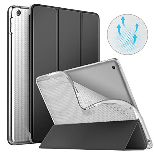 MoKo Case Fit iPad 9.7 2018/2017, [Auto Wake/Sleep] Slim Smart Shell Trifold Stand Folio Case with Translucent Soft TPU Back Cover Compatible with iPad 9.7 Inch (iPad 5, iPad 6) - Black