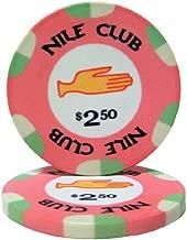 25 $2.50 Nile Club 10 Gram Ceramic Casino Quality Poker Chips